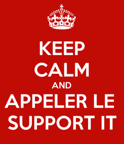 Poster: KEEP CALM AND APPELER LE  SUPPORT IT