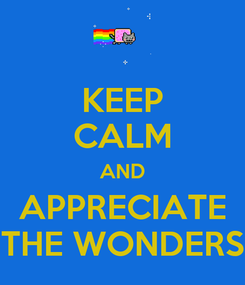 Poster: KEEP CALM AND APPRECIATE THE WONDERS