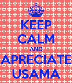 Poster: KEEP CALM AND APRECIATE USAMA