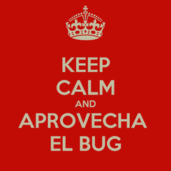 Poster: KEEP CALM AND APROVECHA  EL BUG