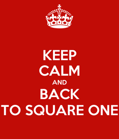 Poster: KEEP CALM AND BACK TO SQUARE ONE