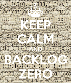 Poster: KEEP CALM AND BACKLOG ZERO