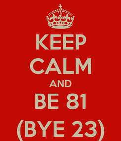 Poster: KEEP CALM AND BE 81 (BYE 23)