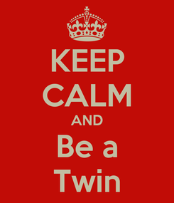 Poster: KEEP CALM AND Be a Twin