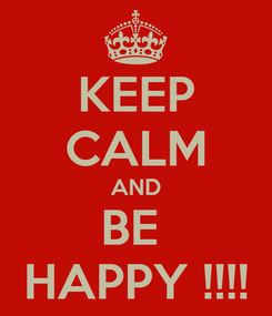 Poster: KEEP CALM AND BE  HAPPY !!!!