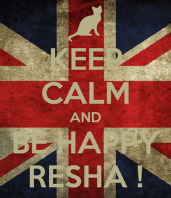Poster: KEEP CALM AND BE HAPPY RESHA !