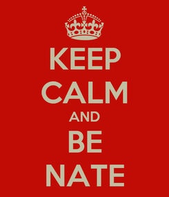 Poster: KEEP CALM AND BE NATE