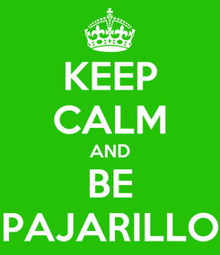 Poster: KEEP CALM AND BE PAJARILLO