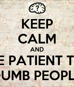 Poster: KEEP CALM AND BE PATIENT TO DUMB PEOPLE