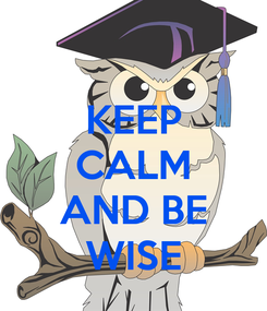 Poster: KEEP CALM  AND BE WISE