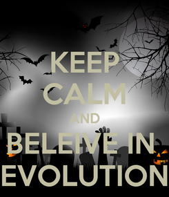 Poster: KEEP CALM AND BELEIVE IN  EVOLUTION