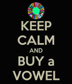 Poster: KEEP CALM AND BUY a VOWEL