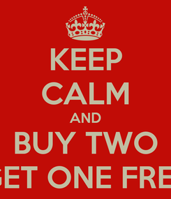 Poster: KEEP CALM AND BUY TWO GET ONE FREE