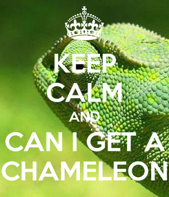 Poster: KEEP CALM AND CAN I GET A CHAMELEON