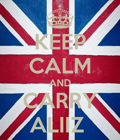 Poster: KEEP CALM AND CARRY ALIIZ