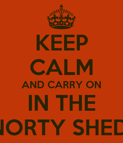 Poster: KEEP CALM AND CARRY ON IN THE NORTY SHED!