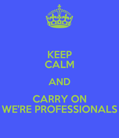 Poster: KEEP CALM AND CARRY ON WE'RE PROFESSIONALS