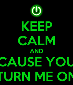 Poster: KEEP CALM AND CAUSE YOU TURN ME ON