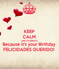 Poster: KEEP CALM AND CELEBRATE Because it's your Birthday FELICIDADES QUERIDO!