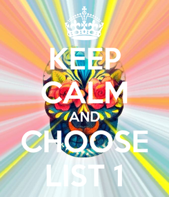 Poster: KEEP CALM AND CHOOSE LIST 1