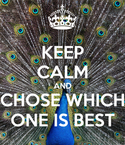 Poster: KEEP CALM AND CHOSE WHICH ONE IS BEST