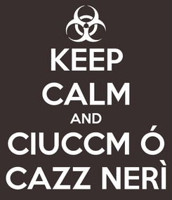 Poster: KEEP CALM AND CIUCCM Ó CAZZ NERÌ