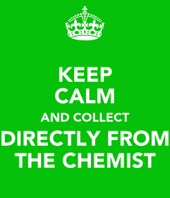 Poster: KEEP CALM AND COLLECT DIRECTLY FROM THE CHEMIST