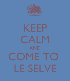 Poster: KEEP CALM AND COME TO  LE SELVE