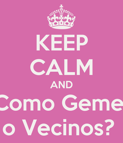 Poster: KEEP CALM AND Como Geme  o Vecinos?