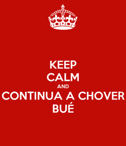 Poster: KEEP CALM AND CONTINUA A CHOVER BUÉ