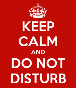 Poster: KEEP CALM AND DO NOT DISTURB