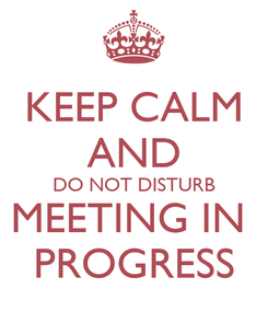 Poster: KEEP CALM AND DO NOT DISTURB MEETING IN  PROGRESS