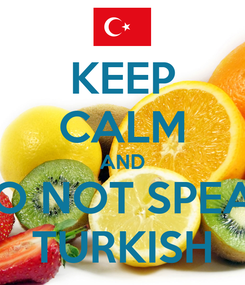Poster: KEEP CALM AND DO NOT SPEAK TURKISH