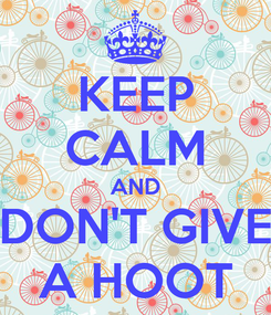 Poster: KEEP CALM AND DON'T GIVE A HOOT