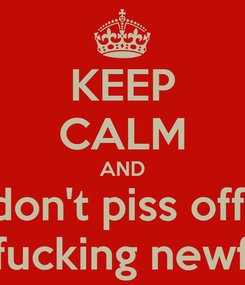 Poster: KEEP CALM AND don't piss off  a fucking newfie