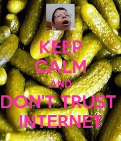 Poster: KEEP CALM AND DON'T TRUST  INTERNET