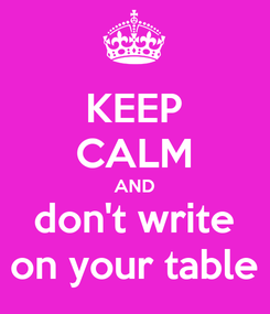 Poster: KEEP CALM AND don't write on your table