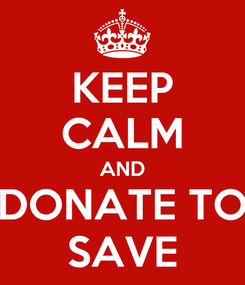 Poster: KEEP CALM AND DONATE TO SAVE