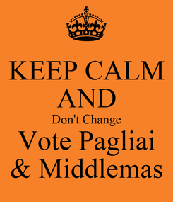 Poster: KEEP CALM AND Don't Change Vote Pagliai & Middlemas