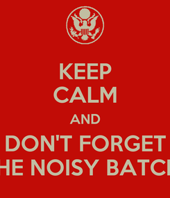 Poster: KEEP CALM AND DON'T FORGET THE NOISY BATCH