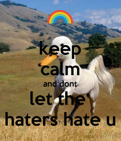 Poster: keep calm and dont let the  haters hate u