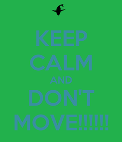 Poster: KEEP CALM AND DON'T MOVE!!!!!!