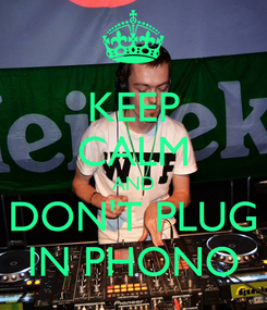 Poster: KEEP CALM AND DON'T PLUG IN PHONO