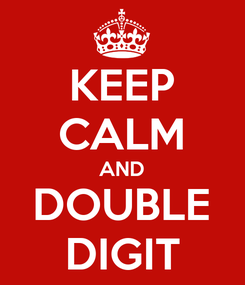 Poster: KEEP CALM AND DOUBLE DIGIT