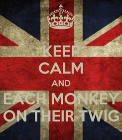 Poster: KEEP CALM AND EACH MONKEY ON THEIR TWIG