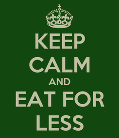 Poster: KEEP CALM AND EAT FOR LESS