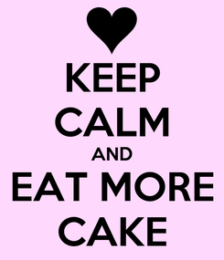 Poster: KEEP CALM AND EAT MORE CAKE