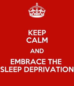 Poster: KEEP CALM AND EMBRACE THE  SLEEP DEPRIVATION