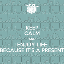 Poster: KEEP CALM AND ENJOY LIFE BECAUSE IT'S A PRESENT