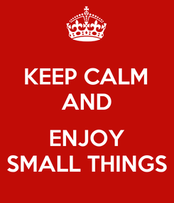 Poster: KEEP CALM AND  ENJOY SMALL THINGS
